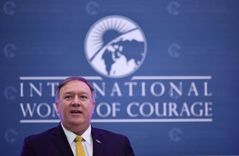 U.S. Secretary of State Mike Pompeo speaks during the 2019 International Women of Courage awards ceremony.