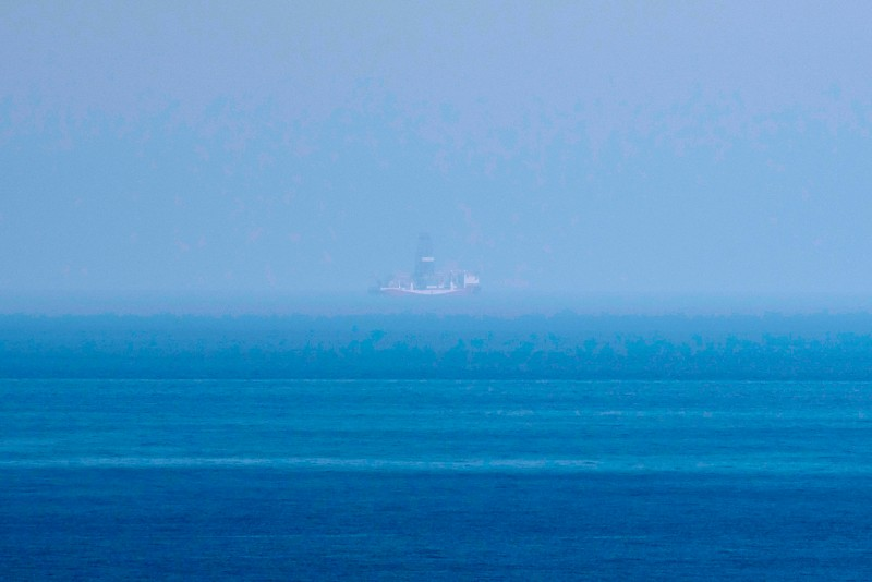 This pictures shows the Yavuz drillship seen from the Karpaz coast of the northern part of Cyprus, the self-proclaimed Turkish Republic of Northern Cyprus (TRNC) close to Apostolos Andreas monastery on July 21, 2019.