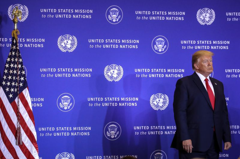 U.S. President Donald Trump looks on as Secretary of State Mike Pompeo speaks during a press conference on the sidelines of the United Nations General Assembly on September 25, 2019 in New York City. (Drew Angerer/Getty Images)