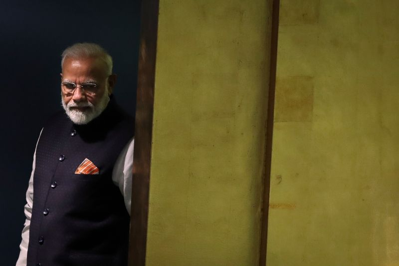 Indian Prime Minister Narendra Modi arrives to address the United Nations General Assembly at UN headquarters in New York, on Sept. 27, 2019.