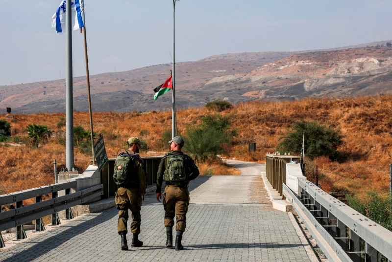 Israeli soldiers patrol the border area known as Naharayim in Hebrew and Baqura in Arabic, on Oct. 18, 2019.