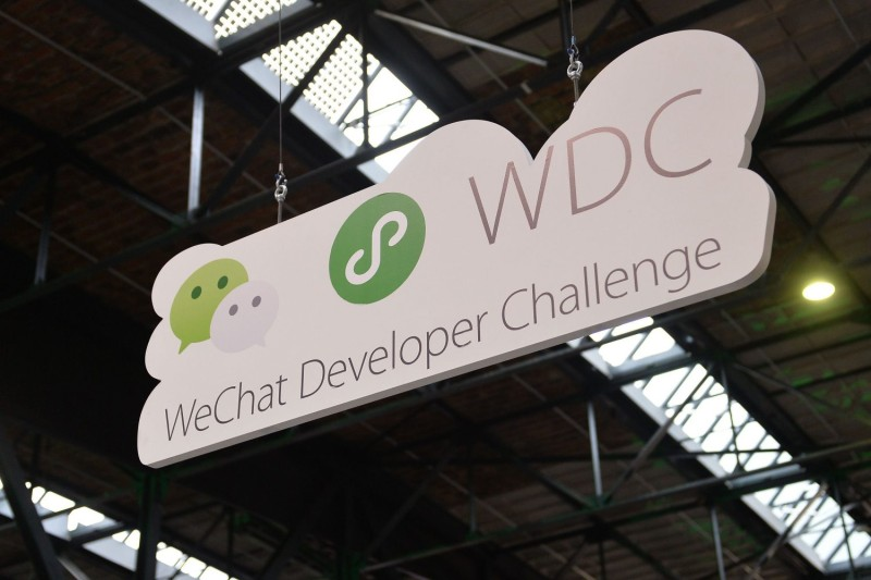 The WeChat booth at TechCrunch Disrupt Berlin 2019 in Berlin on Dec. 11, 2019.