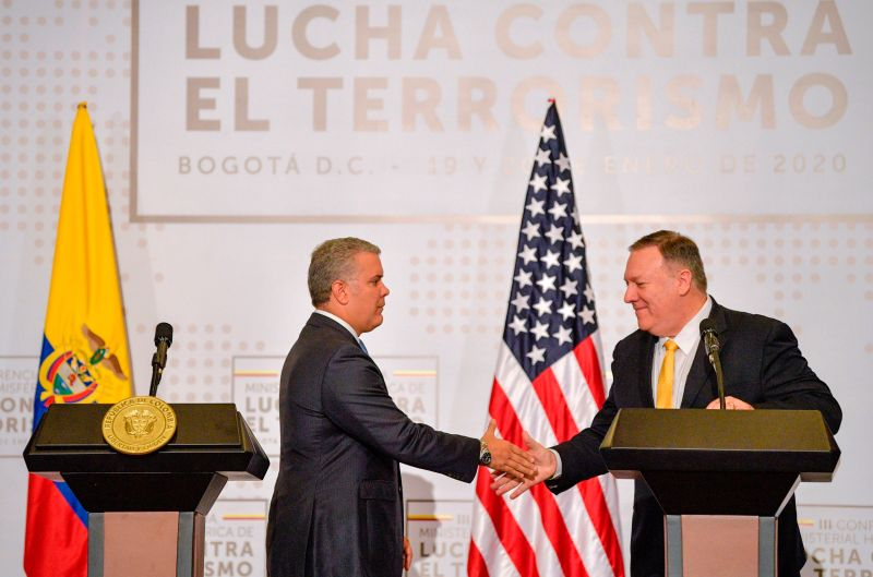 Colombian President Iván Duque shakes hand with U.S. Secretary of State Mike Pompeo during the III Hemispheric Ministerial Conference of Fight Against Terrorism in Bogota, on Jan. 20, 2020.