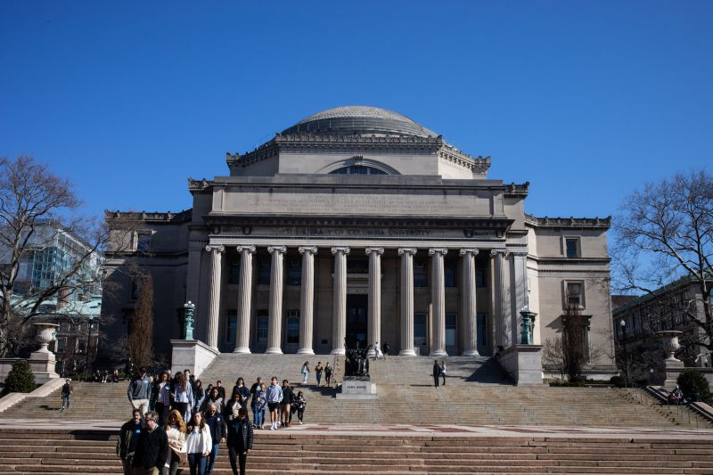 People walk on the Columbia University campus