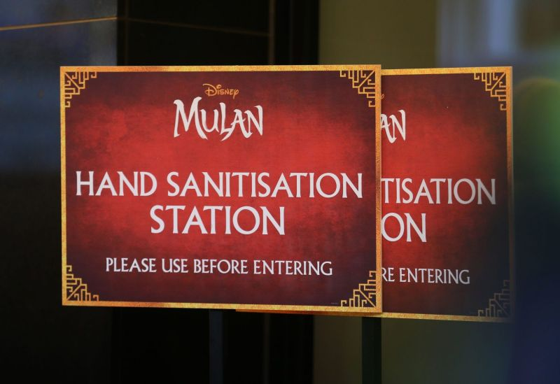 """Posters at the European premiere of Disney's """"Mulan"""""""