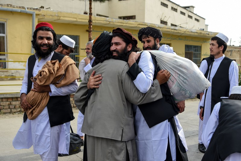 Taliban prisoners being released outside Kabul