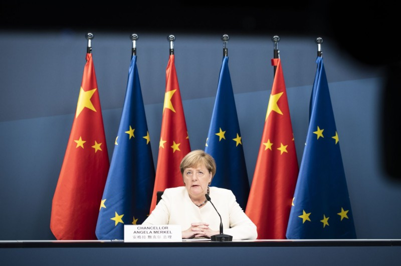 German Chancellor Angela Merkel is shown during a video meeting with Chinese President Xi Jinping in Berlin on Sept. 14.