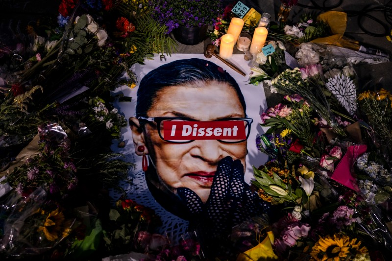 Mementos at a makeshift memorial for Supreme Court Justice Ruth Bader Ginsburg in front of the U.S. Supreme Court in Washington, DC, on Sept. 19.
