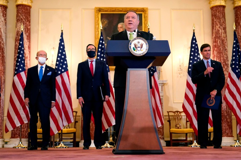 US Secretary of State Mike Pompeo speaks during a news conference to announce the Trump administration's restoration of sanctions on Iran, on September 21, 2020, at the US State Department in Washington, DC.