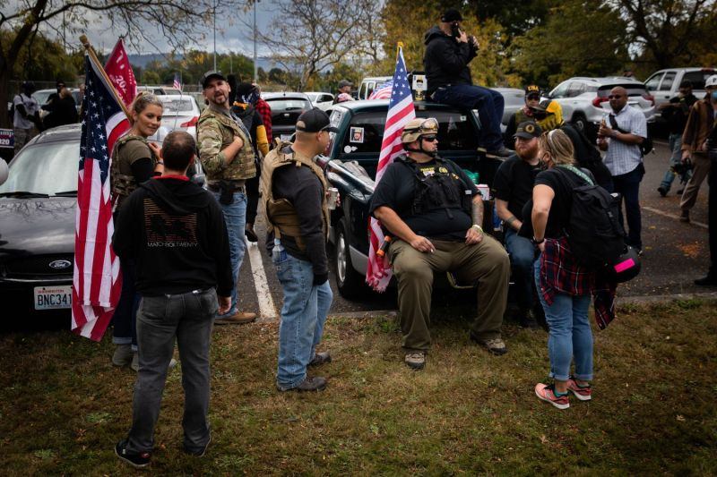 Members of the Proud Boys and other similar groups gathered for a rally at Delta Park in Portland, Oregon, on Sept. 26.