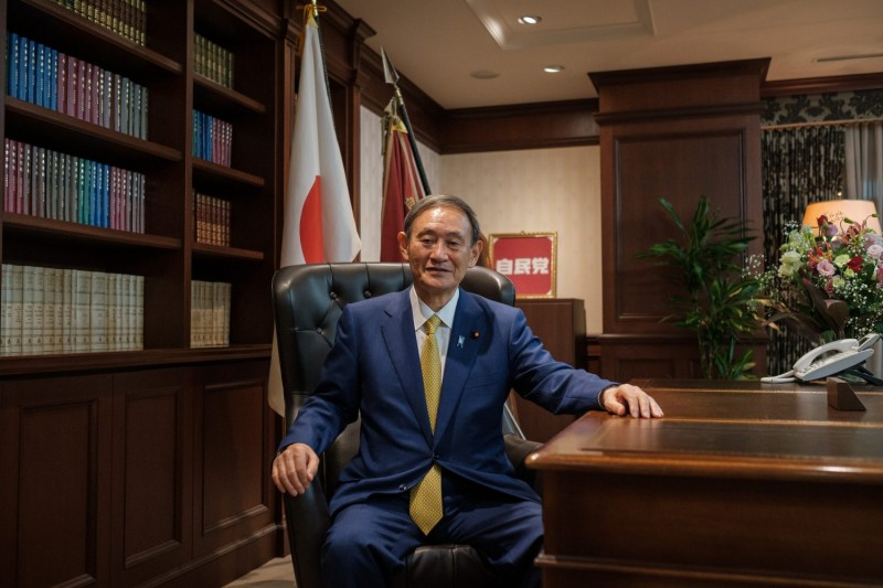 Incoming Japanese Prime Minister Yoshihide Suga poses for a portrait picture in Tokyo on Sept. 14.