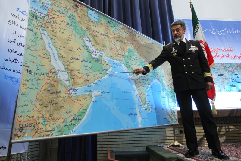 Iran's Navy Commander Admiral Habibollah Sayari points at a map during a press conference in Tehran on Dec. 22, 2010.