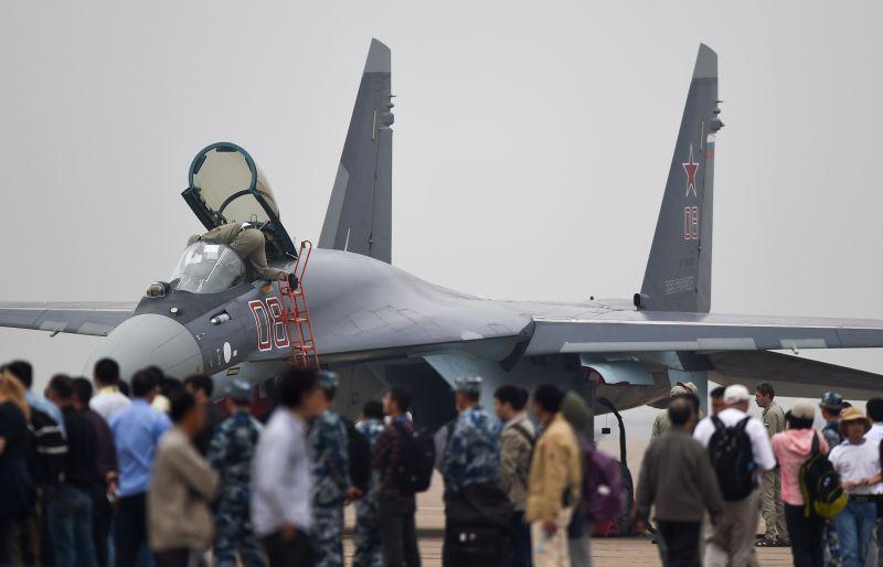 A Su-35 fighter jet
