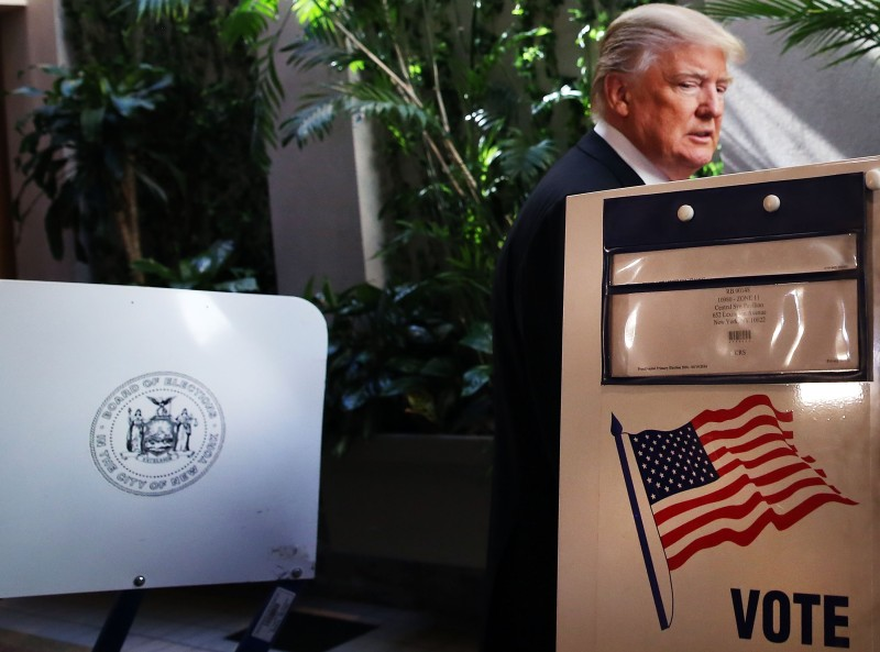 Republican Presidential candidate Donald Trump votes at his local polling station in New York's primary on April 19, 2016 in New York City.