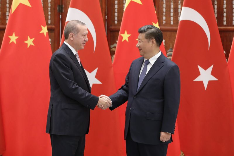 Chinese President Xi Jinping shakes hands with Turkish President Recep Tayyip Erdogan before their meeting on Sept. 3, 2016 in Hangzhou, China.
