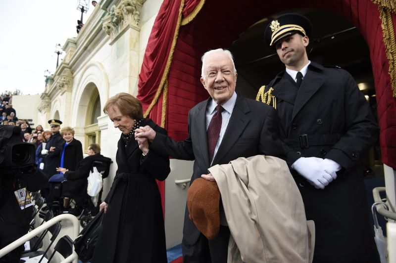Former U.S. President Jimmy Carter and First Lady Rosalynn Carter arrive for the Inauguration of Donald Trump at the Capitol in Washington, D.C., on Jan. 20, 2017.