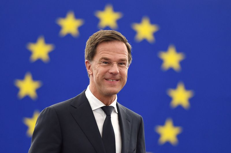Dutch Prime Minister Mark Rutte arrives for a debate on the future of Europe during a plenary session  at the European Parliament on June 13, 2018 in Strasbourg, eastern France.