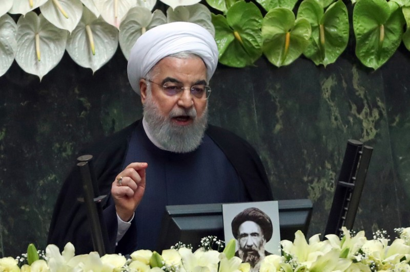 Iranian President Hassan Rouhani delivers a speech during the inaugural session of the new parliament following February elections, in Tehran on May 27.