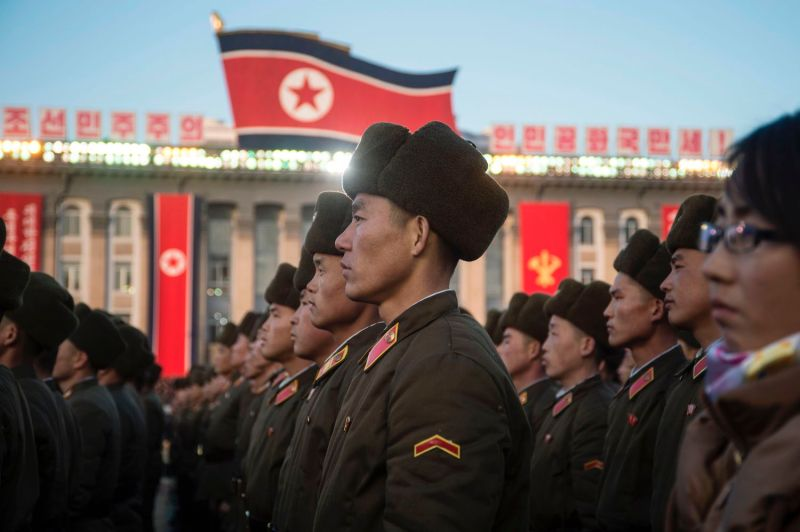 North Korean soldiers attend a mass rally in Kim Il-Sung Square in Pyongyang on Nov. 29, 2017.