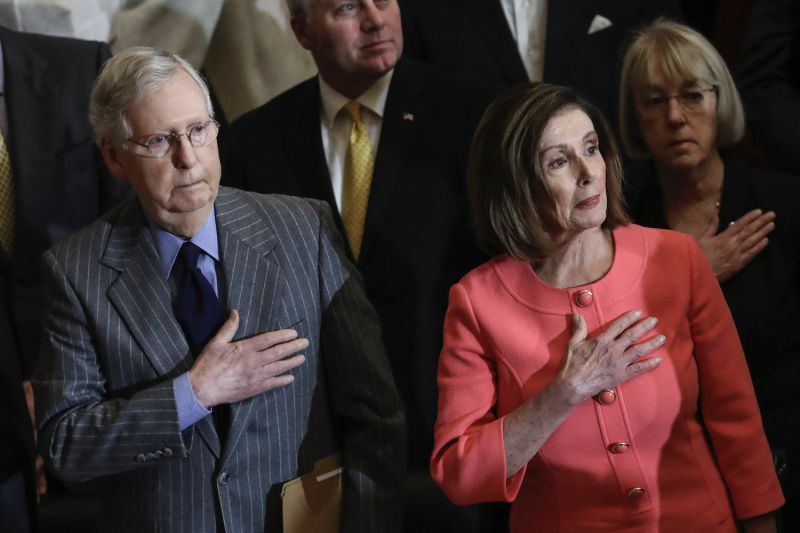 U.S. House Speaker Nancy Pelosi and Senate Majority Leader Mitch McConnell stand for the presentation of colors during a Congressional Gold Medal ceremony at the U.S. Capitol in Washington on Jan. 15.