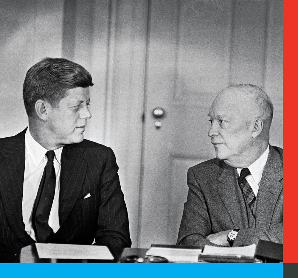 President Dwight D. Eisenhower brings President-elect John F. Kennedy up to speed on national security matters during a pre-inauguration meeting in Washington on Jan. 19, 1961.