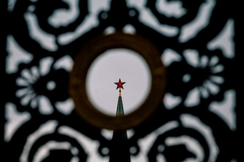 A view of a ruby star atop one of the Kremlin's towers