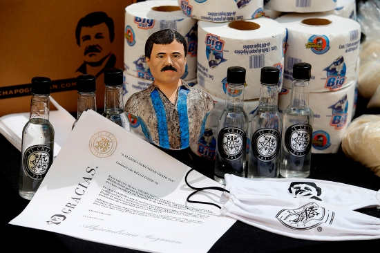 El Chapo boxes of aid for the needy.