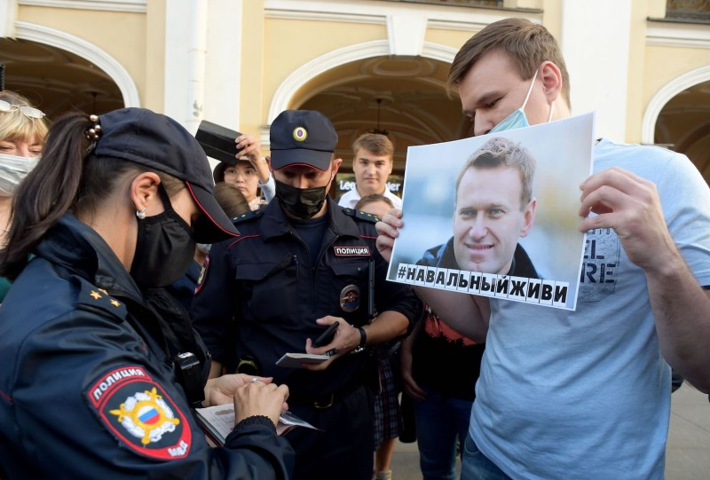 A gathering in support of Alexei Navalny