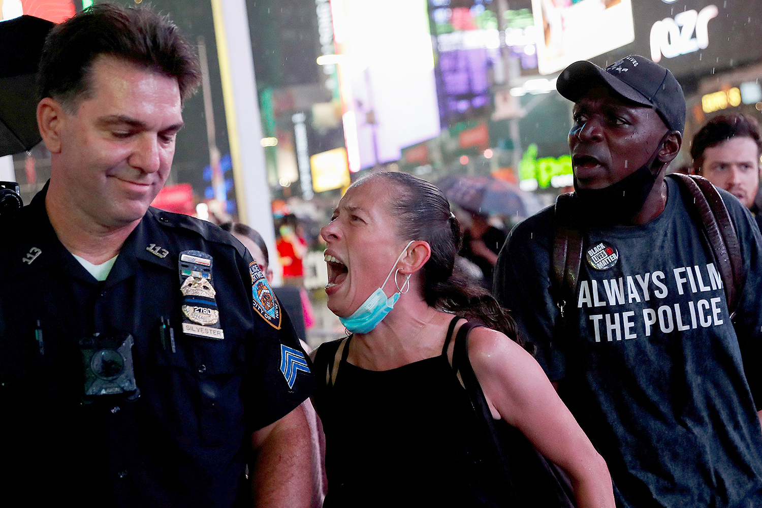 A woman argues with a police officer during a protest in New York City on Sept. 3 following the death of the Daniel Prude, a Black man who was killed in Rochester after police put a spit hood over his head during an arrest in March. Shannon Stapleton/REUTERS