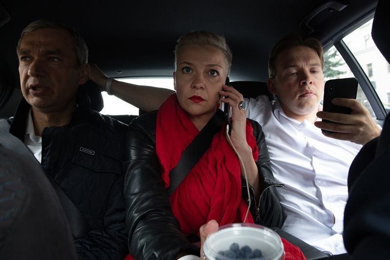 Maria Kolesnikova sits with former Minister of Culture Pavel Latushko (left) and Coordinating Council member Maksim Znak (right) on their way to a protest in Minsk, Belarus, on Aug. 23.