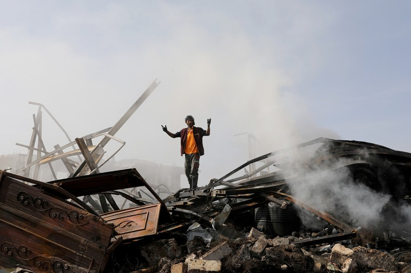 A store is hit by airstrikes in Yemen.