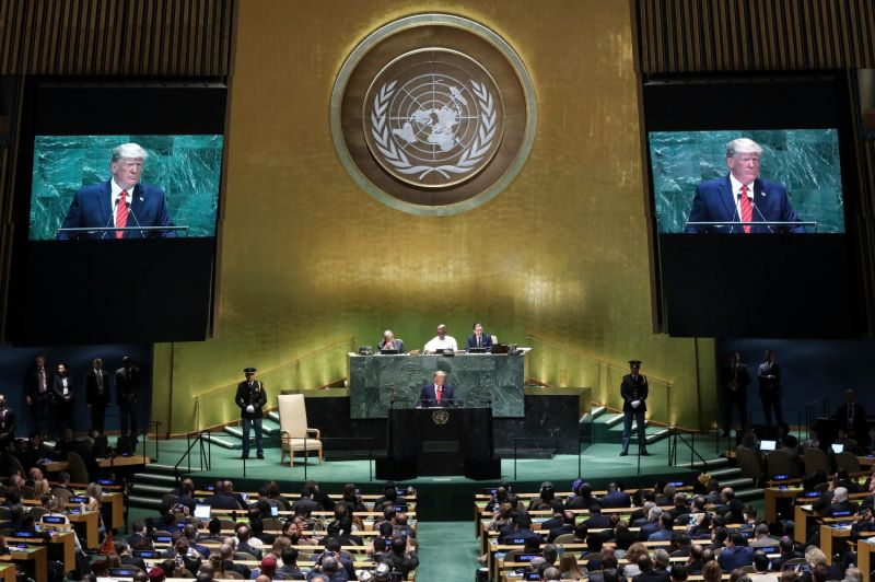 U.S. President Donald Trump addresses the U.N. General Assembly in New York on Sept. 24, 2019.