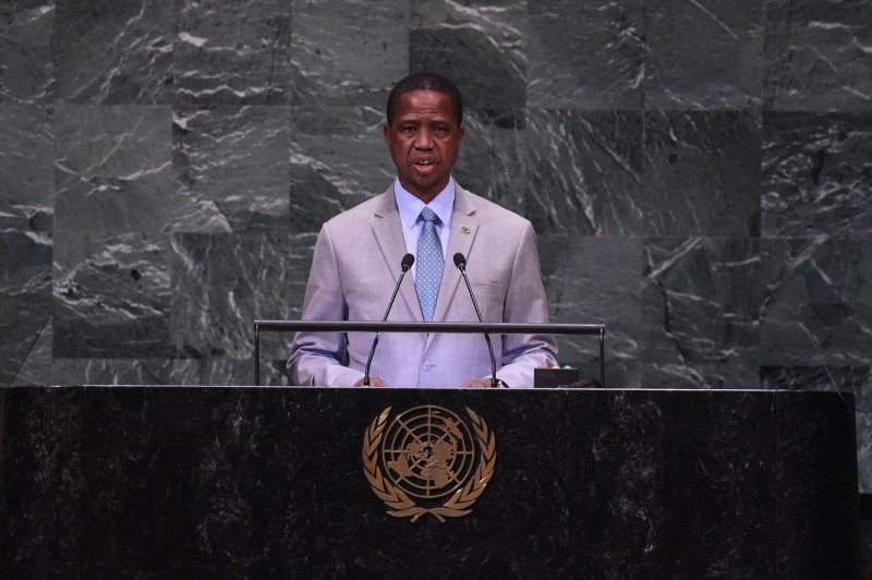 Zambian President Edgar Lungu speaks at the General Debate of the 73rd session of the U.N. General Assembly.