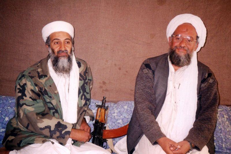Osama bin Laden with then-advisor Ayman al-Zawahiri during a November 2001 interview at an undisclosed location in Afghanistan.