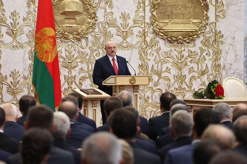 Belarusian President Aleksandr Lukashenko attends his inauguration ceremony.