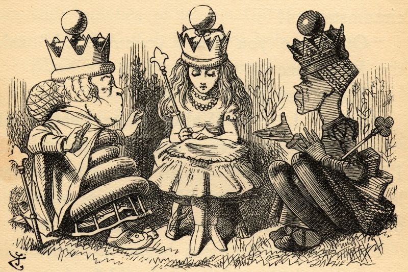 "An illustration of Alice with the white and red queens from the book ""Through the Looking-Glass and What Alice Found There"" by Lewis Carroll. Published in London in 1912."