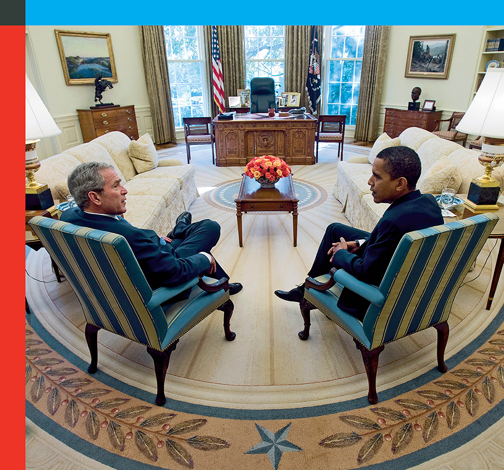President George W. Bush meets with President-elect Barack Obama during Obama's first visit to the Oval Office at the White House on Nov. 10, 2008.