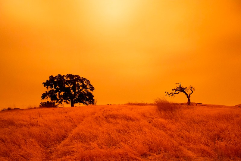 An orange sky filled with smoke hangs above hiking trails at the Limeridge Open Space in Concord, California, on Sept. 9, after historic wildfires created hazardous air quality conditions in the American West.