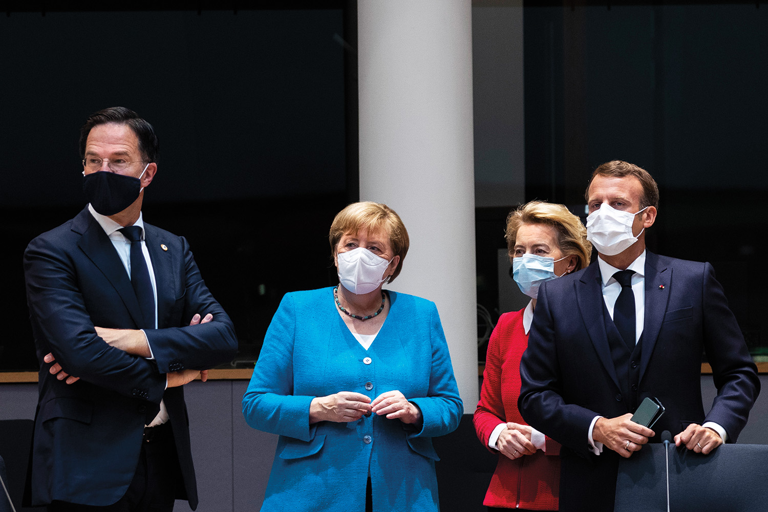 From left: Dutch Prime Minister Mark Rutte, German Chancellor Angela Merkel, European Commission President Ursula von der Leyen, and French President Emmanuel Macron before the start of the first in-person EU summit of the pandemic on July 18.