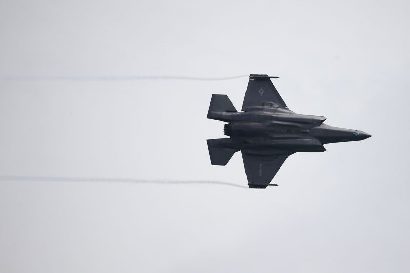 A United States Air Force F-35B Lightning II fighter jet performs an aerial display during the Singapore Airshow media preview on Feb. 9.