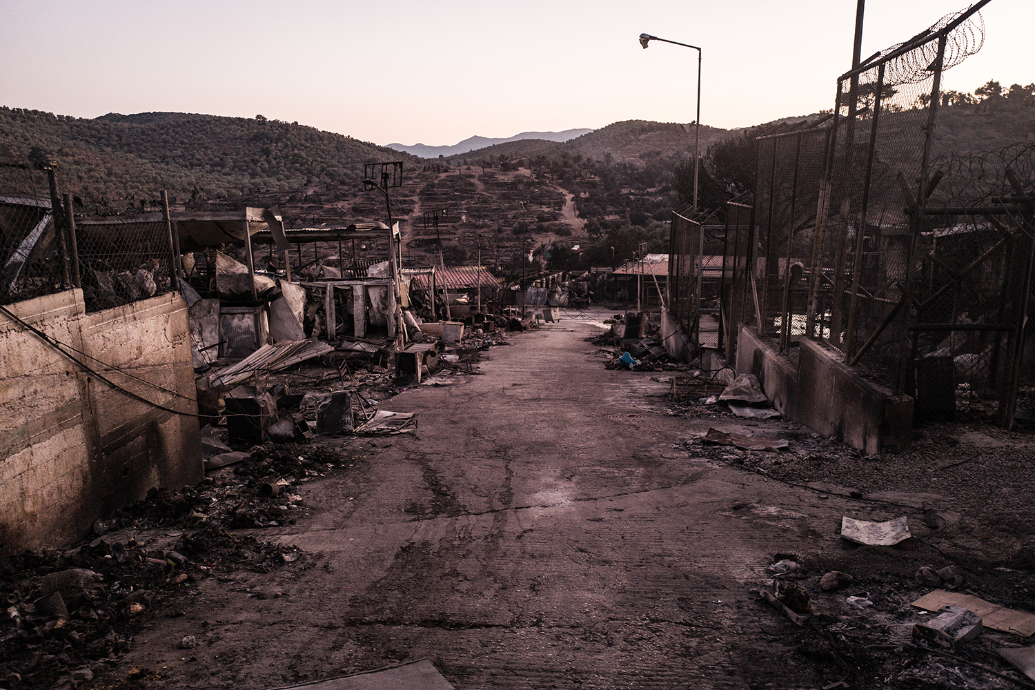 The main road of Moria camp on Sept. 10.