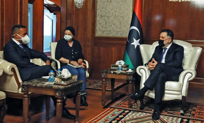 Italian Foreign Minister Luigi Di Maio meets with the head of the Government of National Accord, Fayez Serraj, in Tripoli, Libya, on Sep. 1.