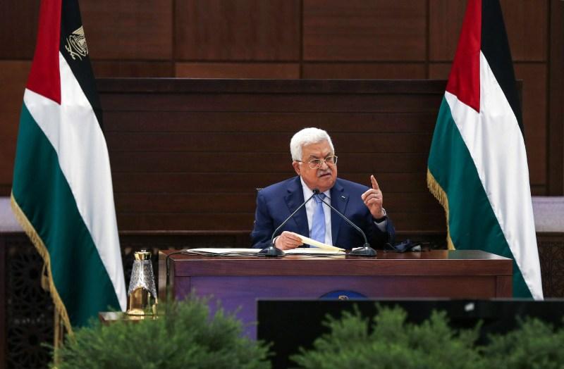 Palestinian Authority President Mahmoud Abbas speaks.