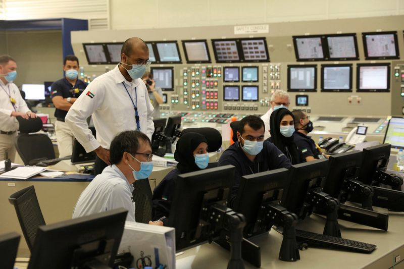 Employees work at the Barakah Nuclear Power Plant in the United Arab Emirates