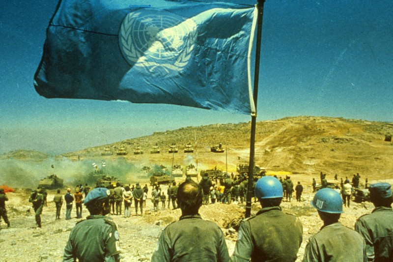 United Nations peacekeepers in the Middle East circa 1955.