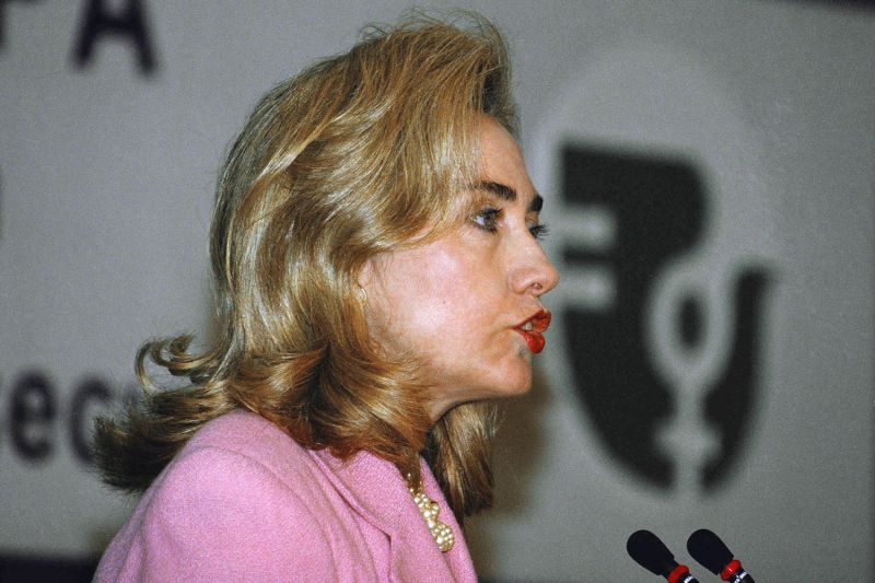 Then-U.S. first lady Hillary Rodham Clinton addresses a panel on women's health and security before addressing the U.N. World Conference on Women in Beijing on Sept. 5, 1995.
