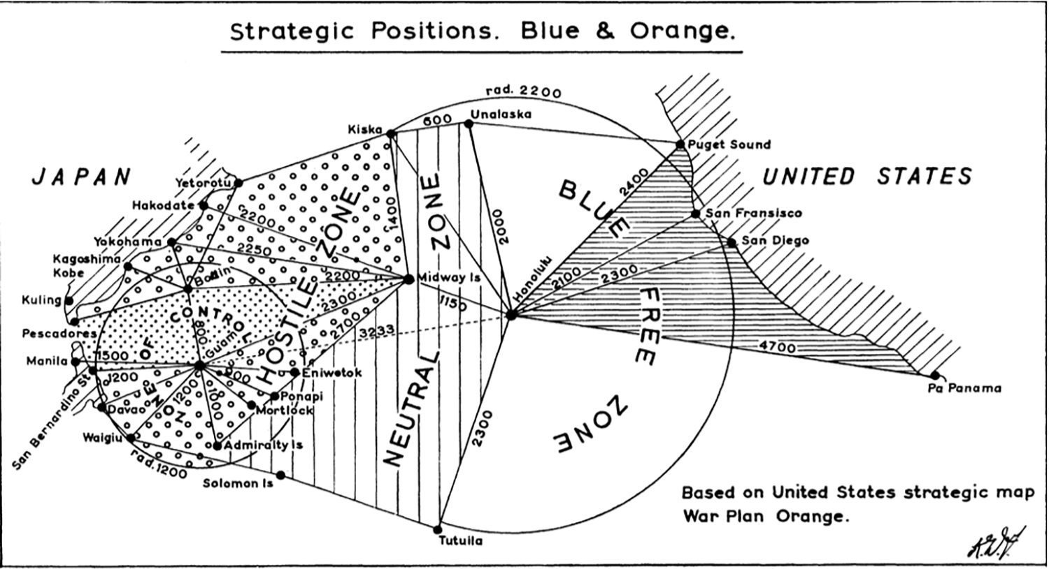 "A map from Edward S. Miller's book ""War Plan Orange."""