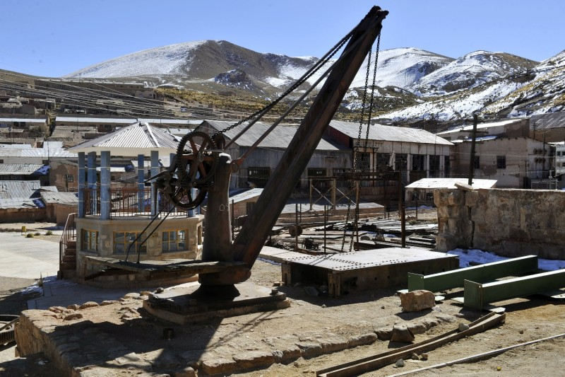 Abandoned machinery in Pulacayo, a former mining center in Bolivia