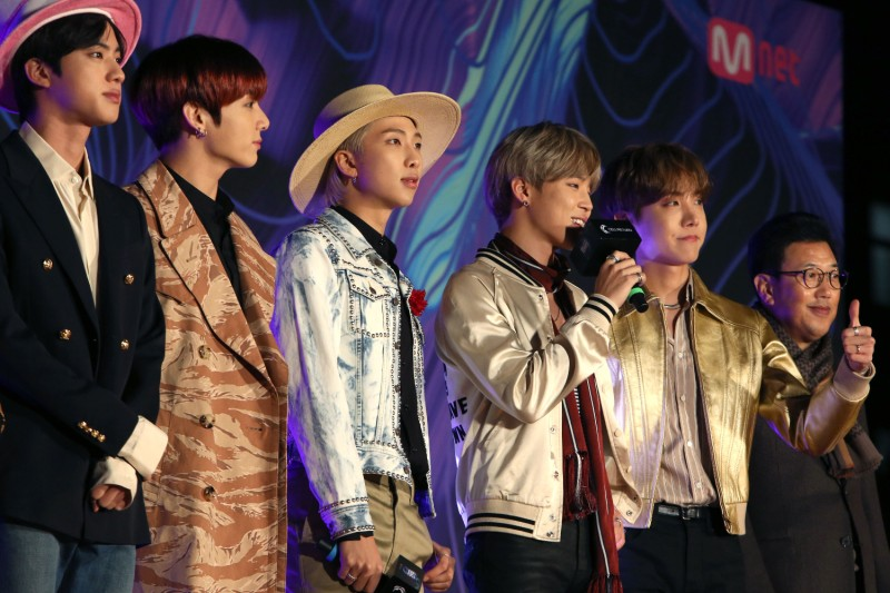 Members of BTS attend the 2019 Mnet Asian Music Awards at Nagoya Dome in Nagoya, Japan, on Dec. 4, 2019.
