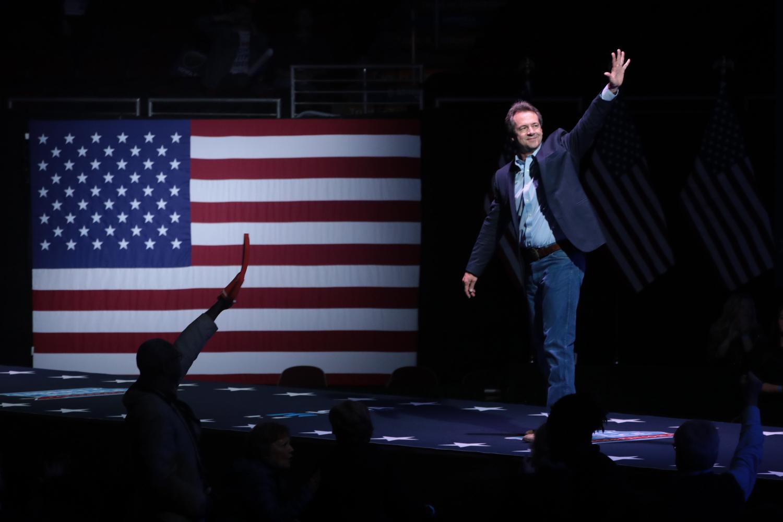 Montana Gov. Steve Bullock speaks at the Wells Fargo Arena in Des Moines, Iowa, on Nov. 1, 2019.